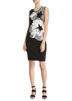 Escada Sleeveless Orchid-Intarsia Knit Pullover Dress