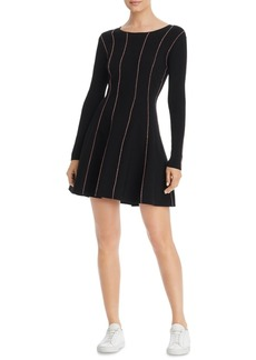 Escada Sport Striped Fit & Flare Sweater Dress