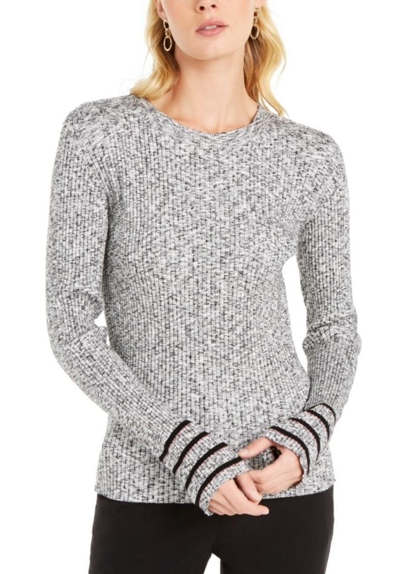 Escada Sport Striped-Sleeve Ribbed-Knit Top