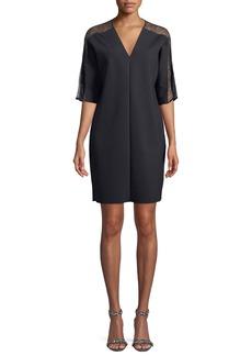 Escada V-Neck Elbow-Sleeve Crepe Dress w/ Lace