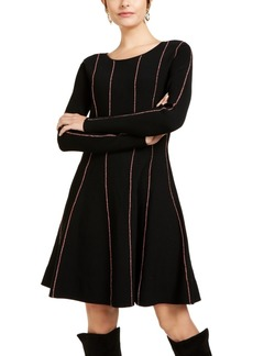 Escada Striped Fit & Flare Sweater Dress