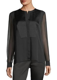 Escada Trapunto-Stitch Silk Shirt