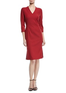 Escada V-Neck 3/4-Sleeve Wool Dress with Flounce Hem