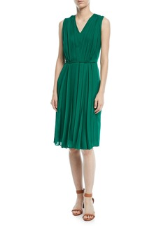 Escada V-Neck Sleeveless Pleated Silk Dress