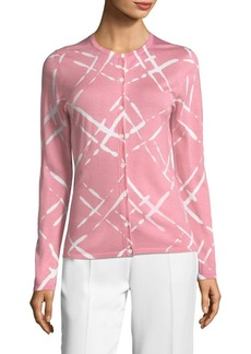 Escada Wool Lattice-Print Cardigan