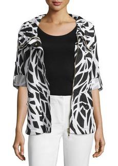 Escada Zip-Front Tabbed-Sleeve Jacket