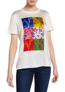 Escada Essmani Colorblocked Silk-Front Tee