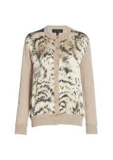 Escada Feather-Print Mixed Media Wool & Silk Cardigan