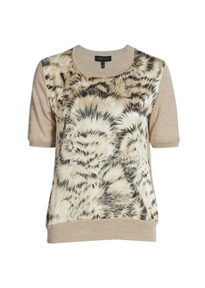 Escada Feather-Print Mixed Media Wool & Silk Short-Sleeve Top
