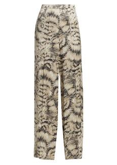 Escada Feather Print Silk Pants