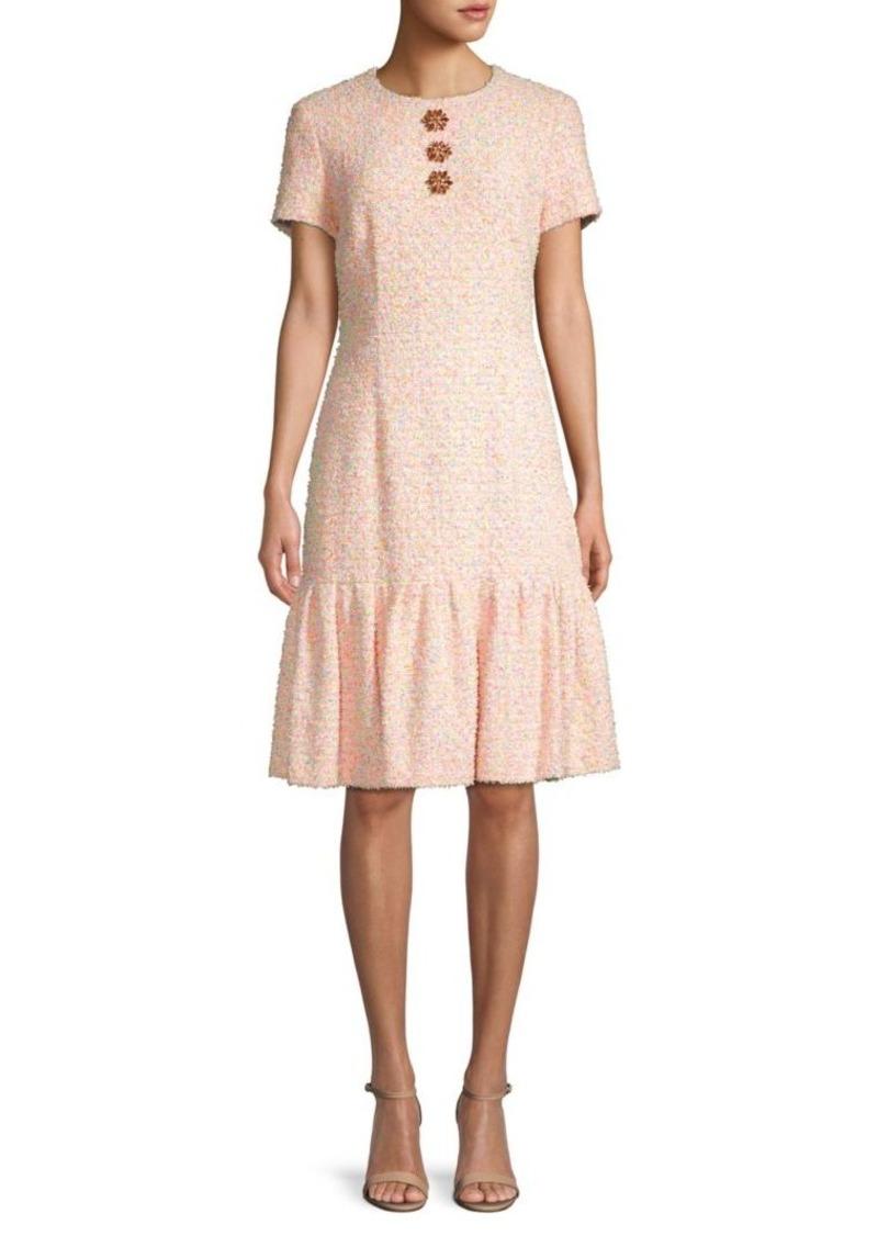 Escada Floral Cotton Blend A-Line Dress