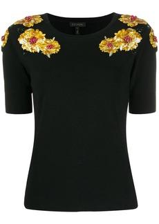 Escada floral embellished shortsleeved knitted top