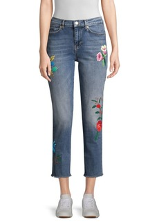 Escada Floral-Embroidered Jeans
