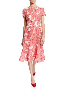 Escada Floral Fil Coupe Boat-Neck Dress