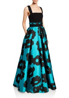Escada Floral Jacquard Full-Skirt Gown