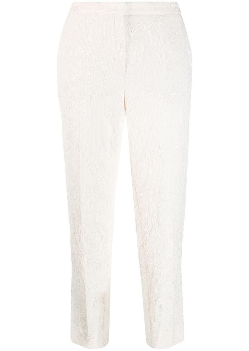 Escada floral jacquard slim-fit trousers