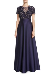 Escada Floral-Lace Bodice Full Satin Skirt Evening Gown