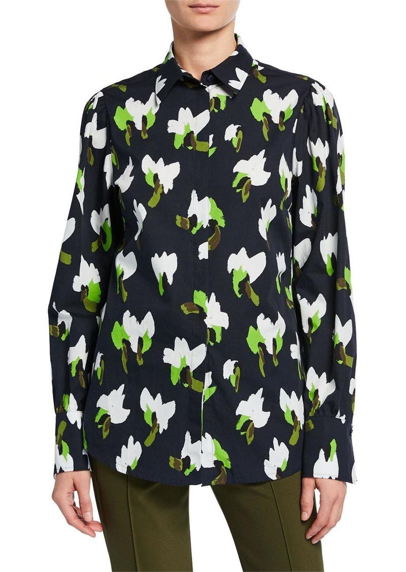 Escada Floral-Print Button-Front Shirt