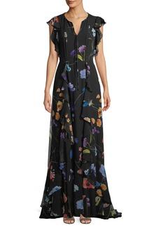 Escada Floral-Print Ruffle A-Line Silk Evening Gown