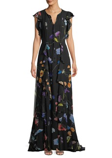 Escada Floral-Print Ruffle A-Line Silk Evening Gown