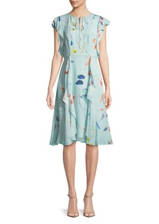 Escada Floral-Print Sleeveless Ruffle Dress