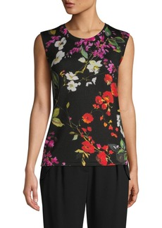 Escada Floral Sleeveless Wool Top