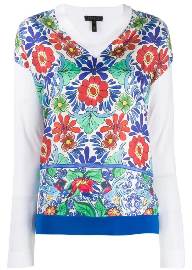 Escada floral two-layer shirt