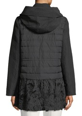 Escada Fringe Embroidered Hooded Mixed-Media Anorak Jacket