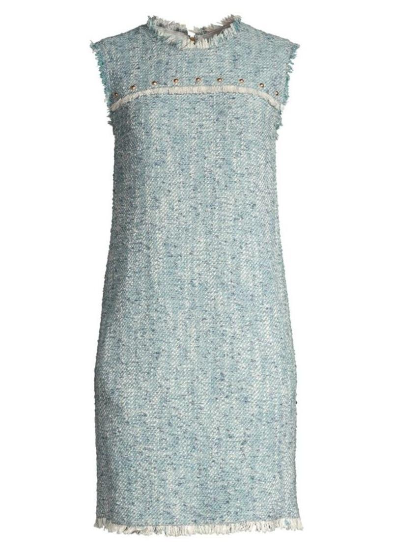 Escada Fringed Sleeveless Tweed Dress