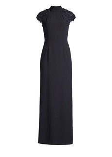 Escada Geriah Beaded Cap-Sleeve Mockneck Gown
