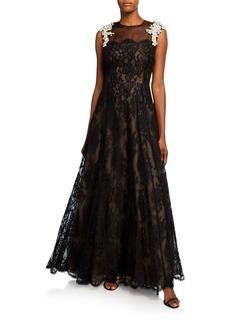 Escada Ghellias French Lace A-Line Dress