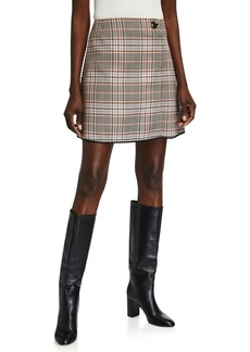 Escada Glen Plaid Straight Skirt