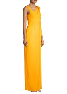 Escada Glliessa Scalloped Tie-Shoulder Gown