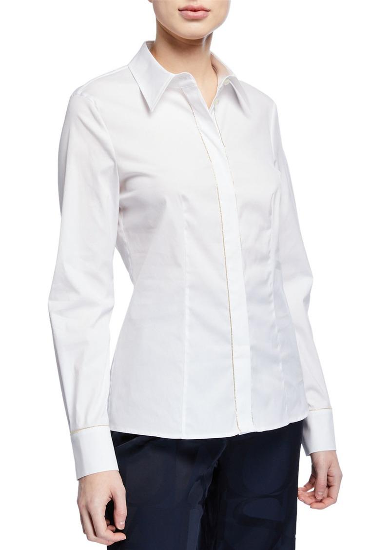 Escada Golden Beaded Long-Sleeve Button Front Shirt