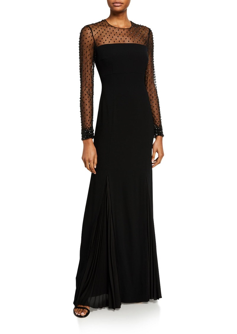 Escada Greha Long-Sleeve Jeweled-Tulle Illusion Column Gown
