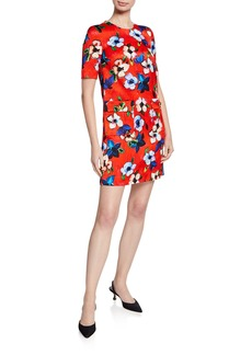 Escada Hammered Floral-Print Dress