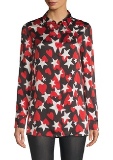 Escada Heart & Star Print Silk Button-Down Shirt
