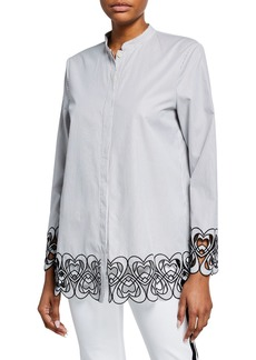 Escada Heart Embroidered Pinstriped Top