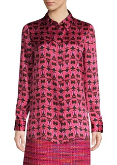 Escada Heart Print Silk Blouse