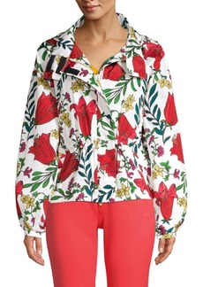 Escada Hooded Floral Windbreaker