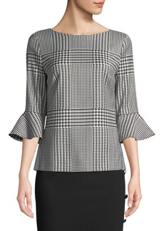 Escada Houndstooth 3/4 Flounce Sleeve Wool-Blend Top