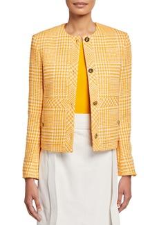 Escada Houndstooth Checked Cotton-Tweed Jacket