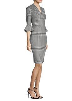Escada Houndstooth Ruffle-Sleeve Dress