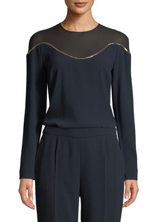 Escada Illusion-Neck Long-Sleeve Crepe Top w/ Beading Detail