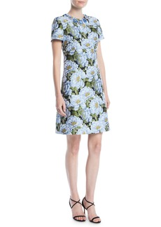 Escada Jewel-Neck Short-Sleeve Floral-Jacquard Day Dress