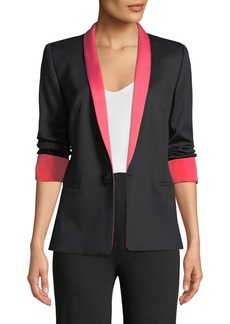 Escada Jeweled One-Button Tux Jacket w/ Contrast Lapel & Cuffs