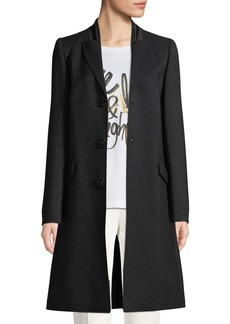 Escada Jeweled Snap-Front Metallic Wool Tuxedo Coat
