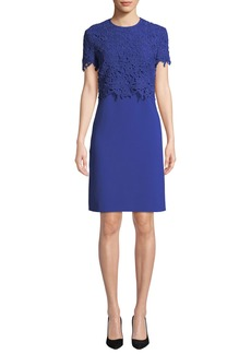 Escada Lace-Overlay Short-Sleeve A-Line Dress