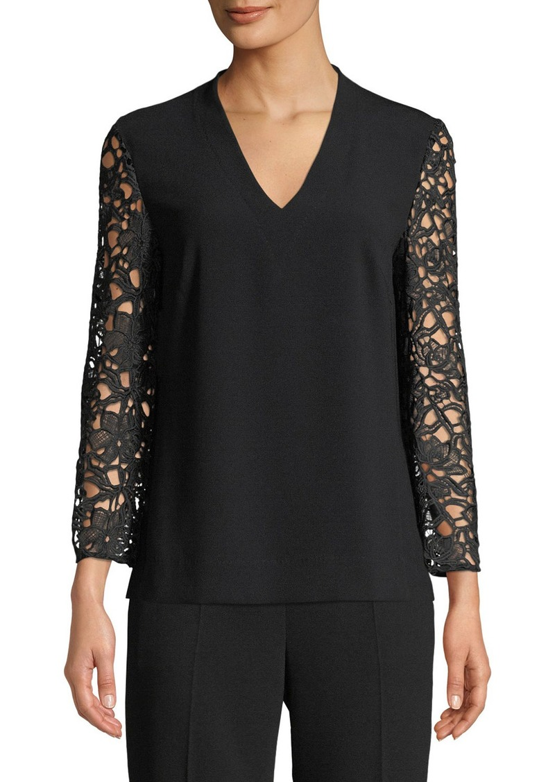 Escada Lace-Sleeves V-Neck Crepe Top