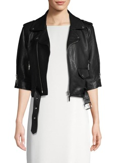 Escada Lailly Cropped Leather Moto Jacket